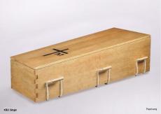 Kiefernsarg Modell Papstsarg mit Seilen und Kreuz